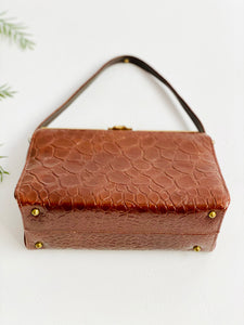 Vintage brown faux crocodile leather handbag