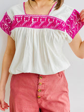 Load image into Gallery viewer, Vintage Purple Color Embroidered Birds Cotton Top on model