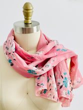 Load image into Gallery viewer, vintage 1930s pink floral silk scarf display on mannequin