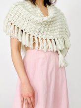 Load image into Gallery viewer, Vintage Ivory Color Caplet w Fringe Crochet Shawl
