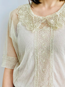 1920s Tulle Chemical Lace Top Intricate Collar