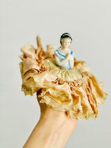 Vintage 1920s half doll pincushion in ruched silk skirt