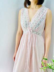vintage 1940s pink lingerie lace night gown on model