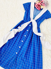 Load image into Gallery viewer, Vintage 1940s navy blue plaid dress with oversized ribbon bow