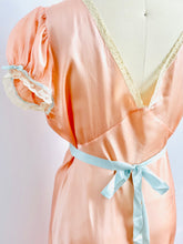Load image into Gallery viewer, Vintage 1930s Satin Lace Lingerie Dress w Blue Ribbon Sash