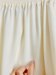 Reserved-1970s White Embroidered Pearls Beaded Rayon Skirt