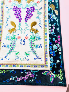 Vintage Chinese Embroidered Art with Pastel Colored Grape Vines and Squirrels
