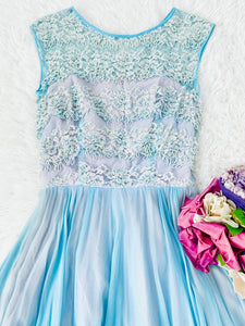 Vintage 1950s pastel blue sequin beaded silk lace dress