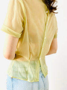 Vintage 1940s sage green ruched top with Peter Pan collar
