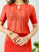 Load image into Gallery viewer, Vintage 1940s watermelon red knit set with Art Deco buckle