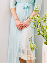 Load image into Gallery viewer, Vintage 1930s Pastel Blue Silk Lingerie Dressing Gown with Ribbon Flowers