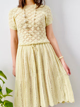 Load image into Gallery viewer, Vintage 1960s buttery yellow crochet dress with scalloped hem