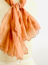 Load image into Gallery viewer, Vintage 1930s peach color silk scarf with scalloped edge