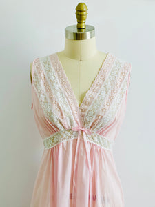 vintage 1940s pink lingerie lace night gown on mannequin