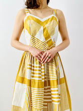Load image into Gallery viewer, Vintage 1950s mustard color abstract print dress