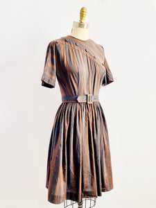 1950s Brown Striped Dress with Buttons Fall Dress Matching Belt
