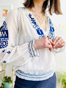 Vintage 1930s Hungarian top blue embroidered cotton peasant blouse
