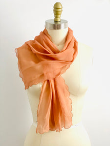 Vintage 1930s peach color silk scarf with scalloped edge
