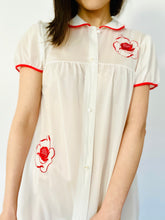 Load image into Gallery viewer, Vintage 1960s Lingerie Dress w Red Embroidered Flowers Peter Pan Collar