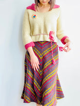 Load image into Gallery viewer, 1930s Raspberry Beige Color Sweater w Waist Ties