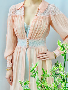 Vintage 1930s Pink Dress Gown with Lace Lingerie Robe