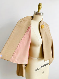 Vintage 1950s dolman sleeves wool caplet jacket