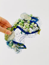 Load image into Gallery viewer, Vintage 1930s fascinator green velvet millinery flowers