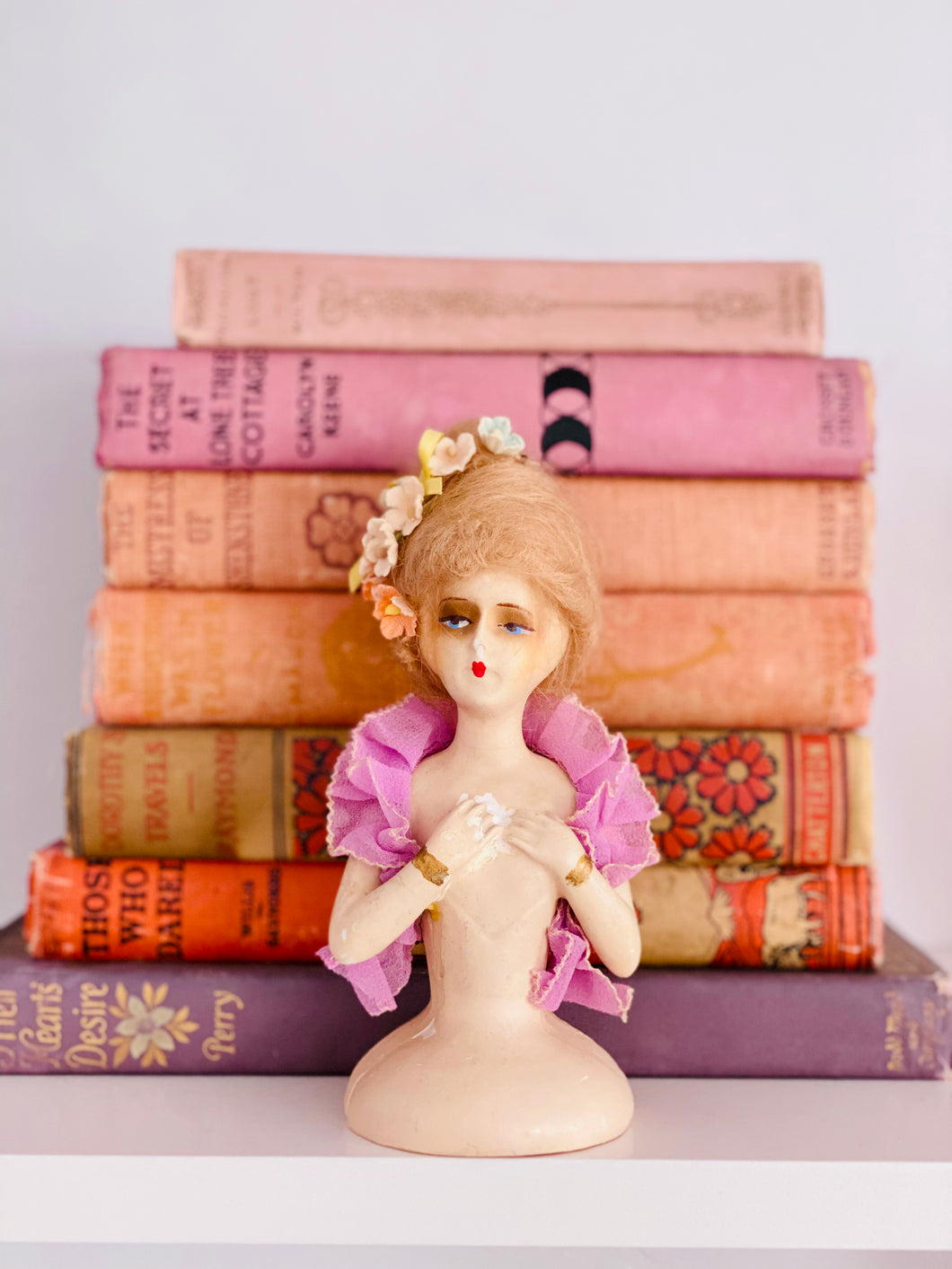 Vintage 1920s chalk French half doll with velvet flowers