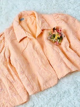 Load image into Gallery viewer, Vintage 1930s Peach Color Embroidered Rayon Crepe Bed Jacket