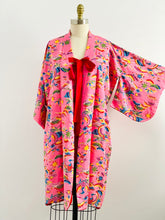 Load image into Gallery viewer, Vintage pink Japanese kimono phoenix print reversible dressing robe