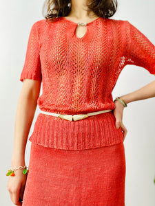 Vintage 1940s watermelon red knit set with Art Deco buckle