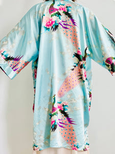 Vintage Pastel Blue Kimono with Peacocks Cherry Blossoms