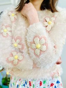 Vintage pastel pink fuzzy sweater with crochet daisies