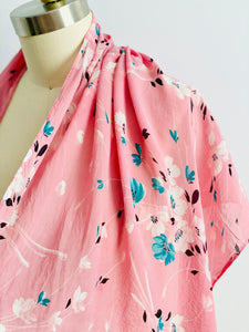 vintage 1930s pink floral silk scarf display on mannequin