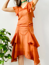 Load image into Gallery viewer, Vintage 1920s orange silk chiffon ruched dress w ribbon bow