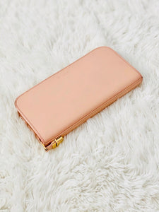 vintage pink YSL wallet with gold buckle and zipper