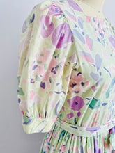Load image into Gallery viewer, Vintage Floral Cotton Dress in Pastel Colors w Ribbon Bow