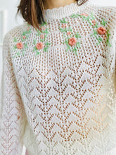Load image into Gallery viewer, Vintage 1970s white embroidered acrylic sweater
