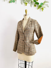 Load image into Gallery viewer, Vintage brown plaid blazer w elbow patch
