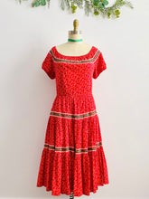 Load image into Gallery viewer, Vintage 1950s red floral prairie dress full circle skirt