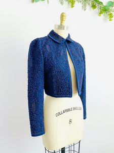 Vintage Blue 1940s Soutache Embroidered Jacket