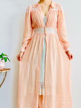 Load image into Gallery viewer, Vintage 1930s Pink Dress Gown with Lace Lingerie Robe