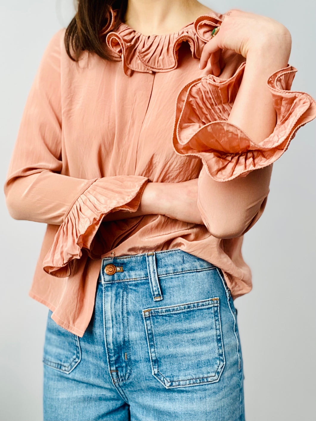 Vintage dusty pink silk blouse with ruffles