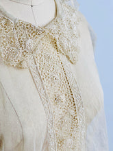 Load image into Gallery viewer, closeup of vintage 1920s chemical lace top on mannequin
