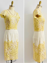 Load image into Gallery viewer, 1960s Butter Yellow Battenburg Lace Dress Made in Belgium