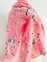 Load image into Gallery viewer, 1940s Pink and Turquoise Floral Scarf