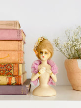 Load image into Gallery viewer, Vintage 1920s chalk French half doll with velvet flowers