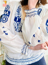 Load image into Gallery viewer, Vintage 1930s Hungarian top blue embroidered cotton peasant blouse