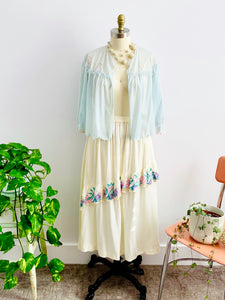 Vintage 1930s Pastel Blue Bed Jacket and Embroidered Skirt display on Mannequin