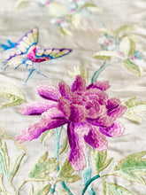Load image into Gallery viewer, Vintage 1930s Chinese embroidery art pastel peonies and butterfly